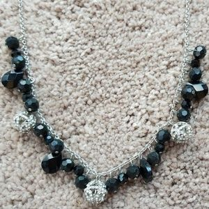 CHAPS Black Bead and Rhinestone Ball Necklace